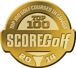 Badge depicting ScoreGolf ranking in Top 100 Courses in Canada.